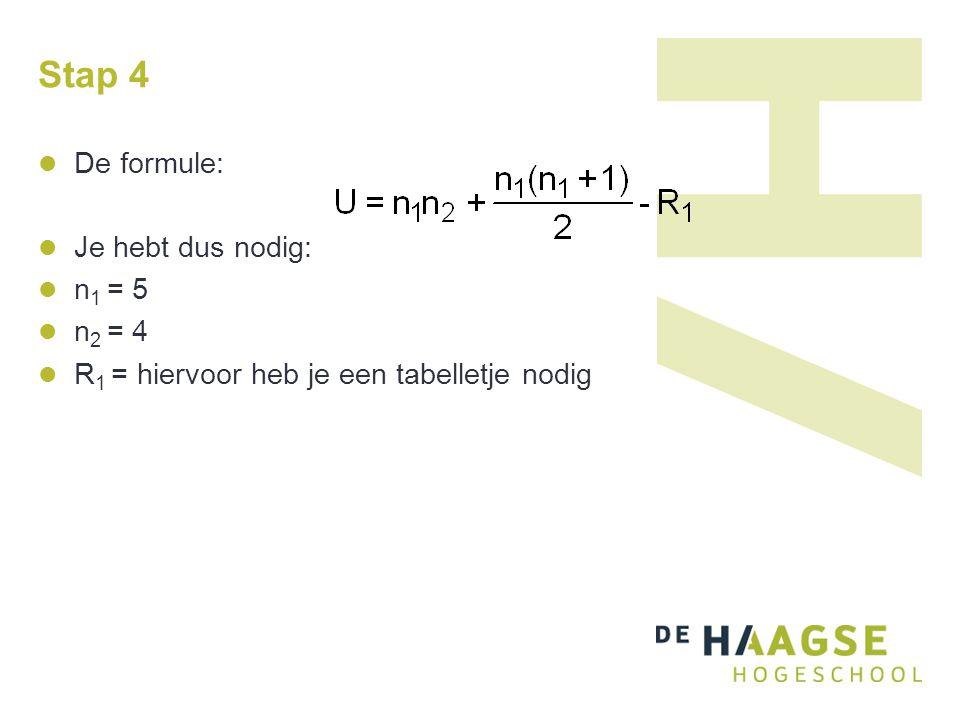 Stap 4 De formule: Je hebt dus nodig: n1 = 5 n2 = 4