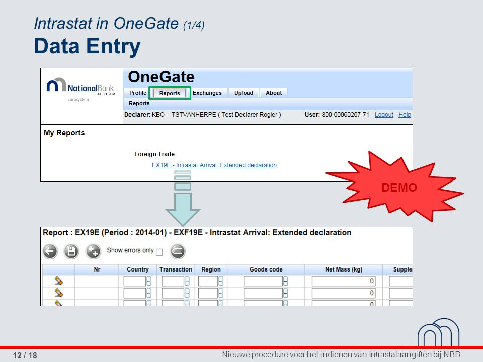 Intrastat in OneGate (1/4) Data Entry