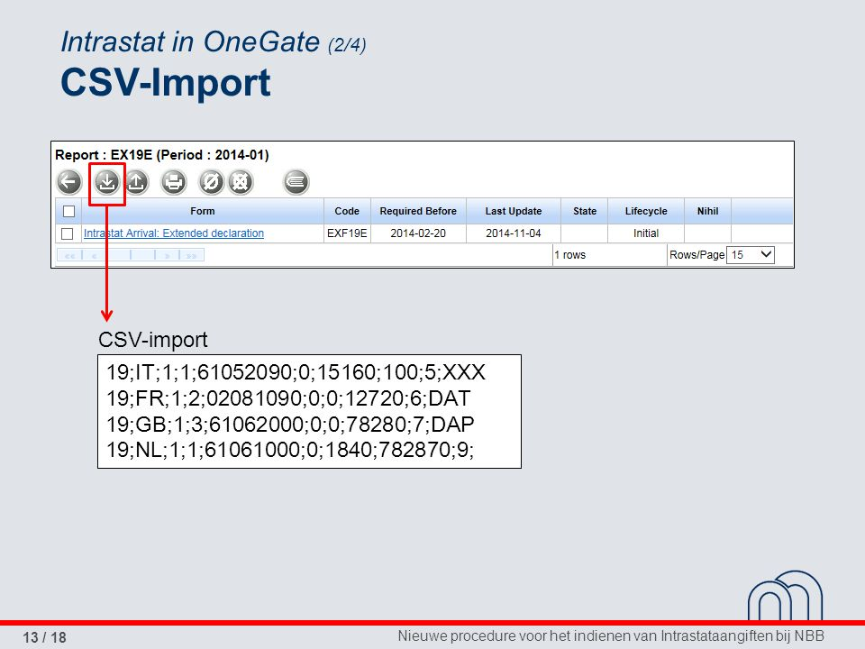 Intrastat in OneGate (2/4) CSV-Import