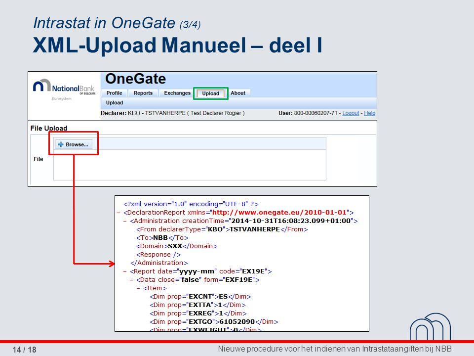 Intrastat in OneGate (3/4) XML-Upload Manueel – deel I