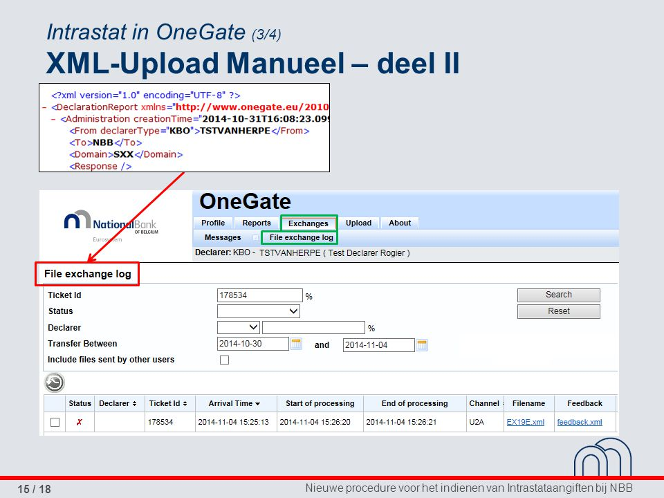 Intrastat in OneGate (3/4) XML-Upload Manueel – deel II