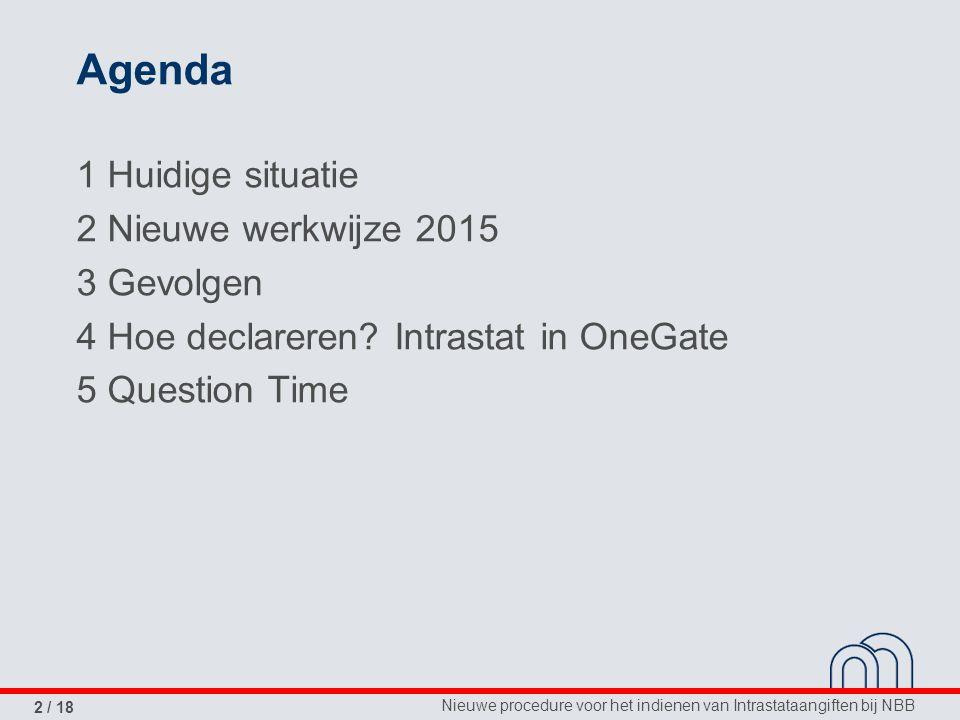 Agenda 1 Huidige situatie 2 Nieuwe werkwijze 2015 3 Gevolgen 4 Hoe declareren.