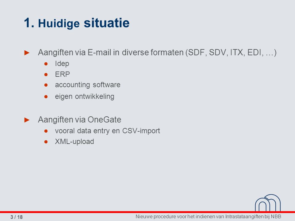 1. Huidige situatie Aangiften via E-mail in diverse formaten (SDF, SDV, ITX, EDI, …) Idep. ERP. accounting software.