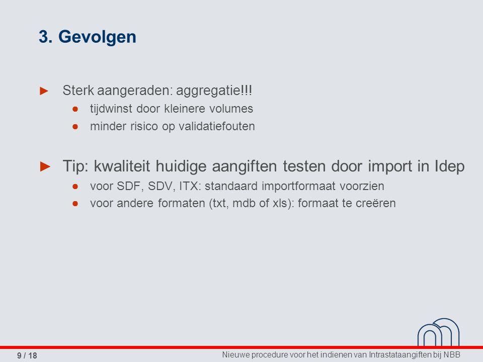 3. Gevolgen Sterk aangeraden: aggregatie!!! tijdwinst door kleinere volumes. minder risico op validatiefouten.