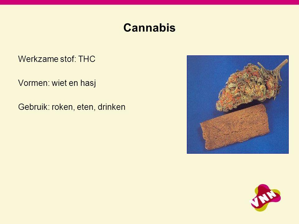Cannabis Werkzame stof: THC Vormen: wiet en hasj
