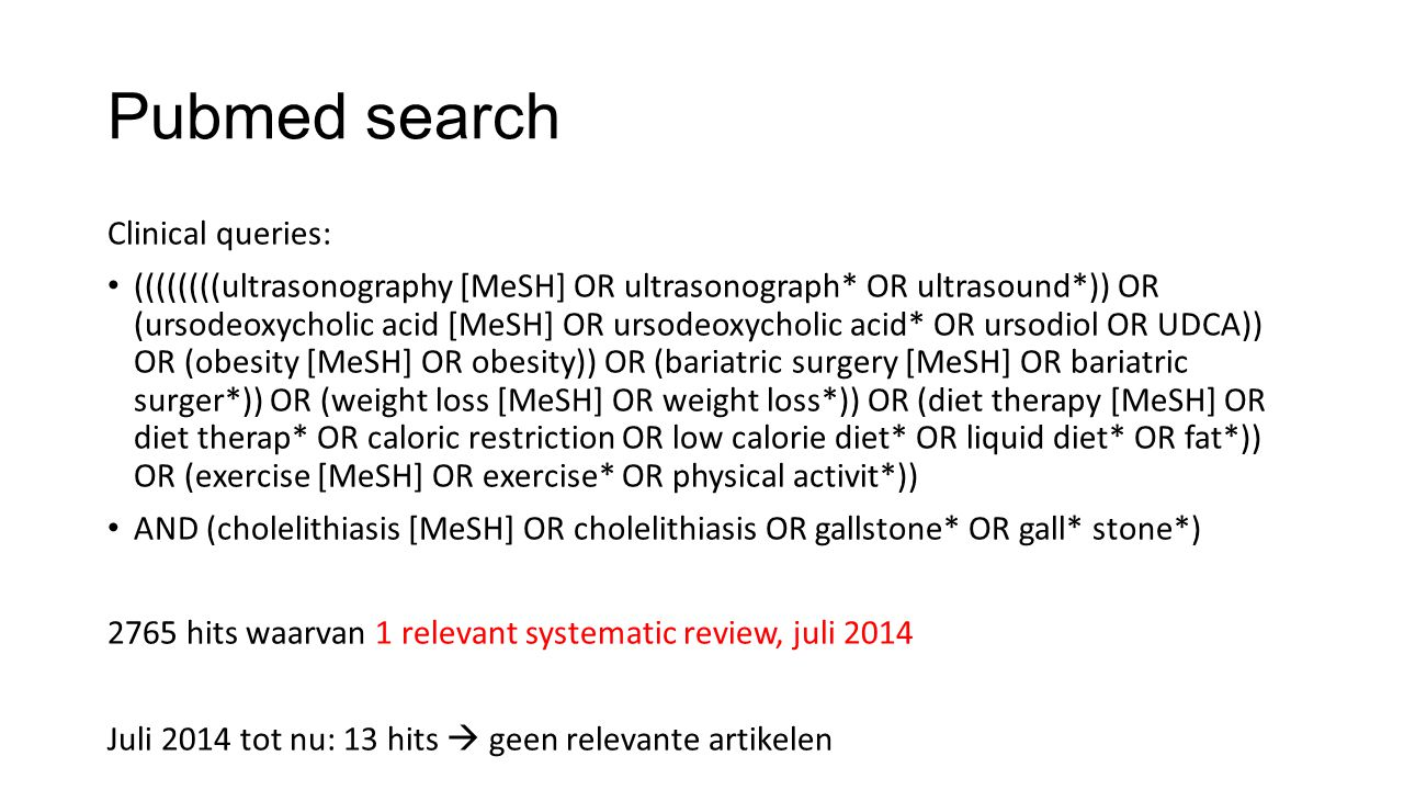 Pubmed search Clinical queries: