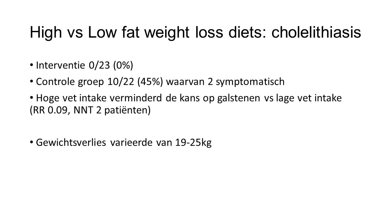 High vs Low fat weight loss diets: cholelithiasis