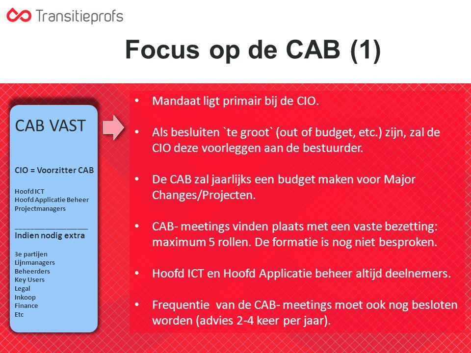 Focus op de CAB (1) CAB VAST Mandaat ligt primair bij de CIO.
