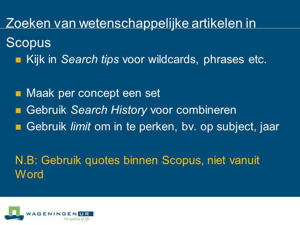 Zoeken van wetenschappelijke artikelen in Scopus