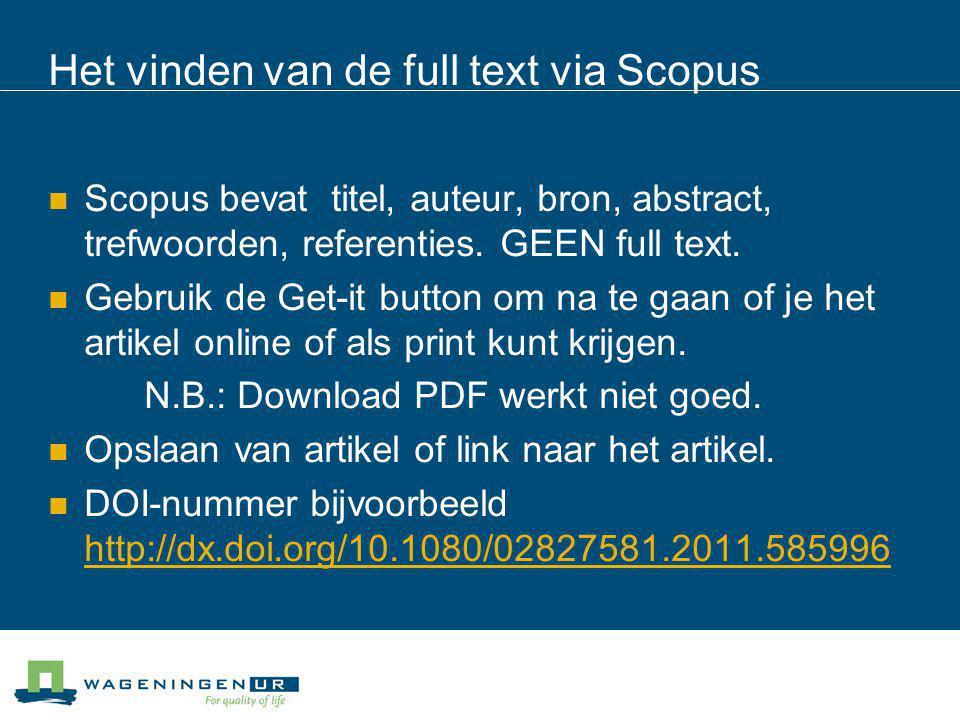Het vinden van de full text via Scopus