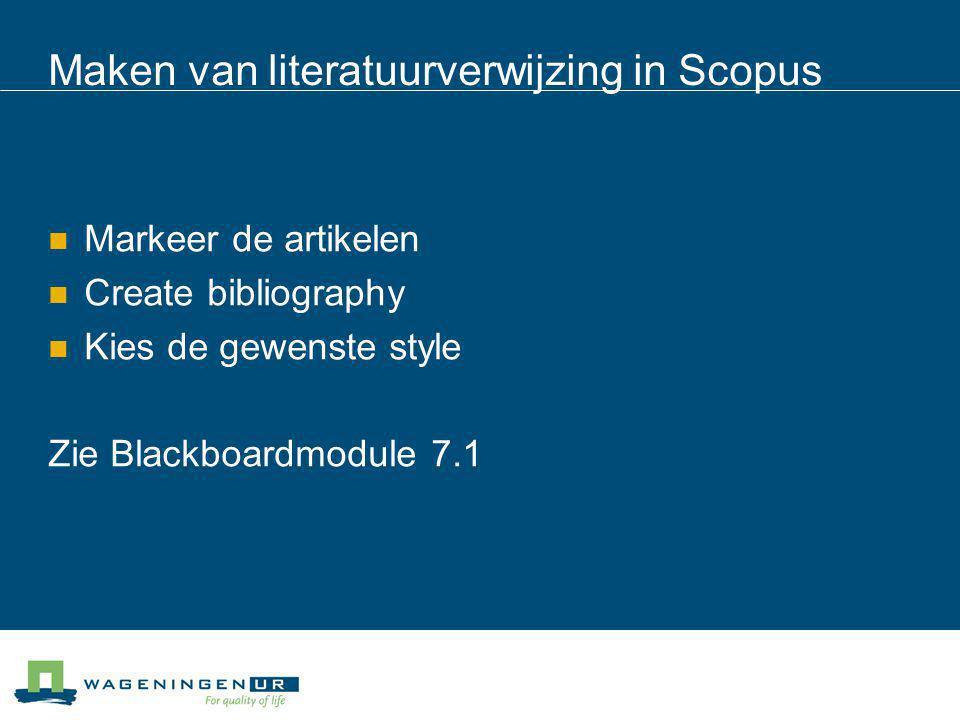 Maken van literatuurverwijzing in Scopus