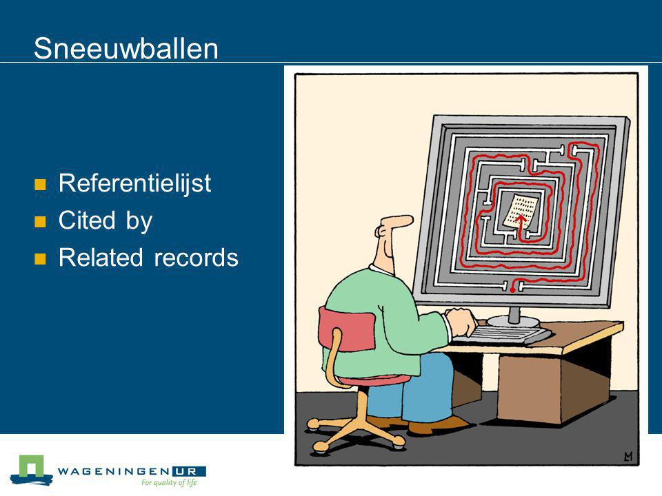 Sneeuwballen Referentielijst Cited by Related records