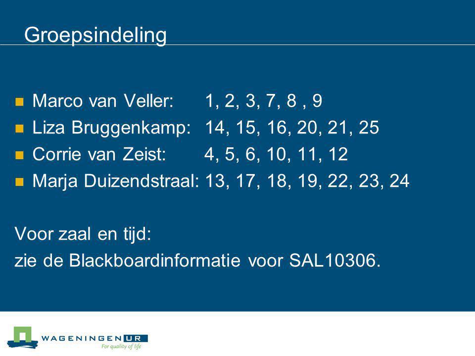 Groepsindeling Marco van Veller: 1, 2, 3, 7, 8 , 9