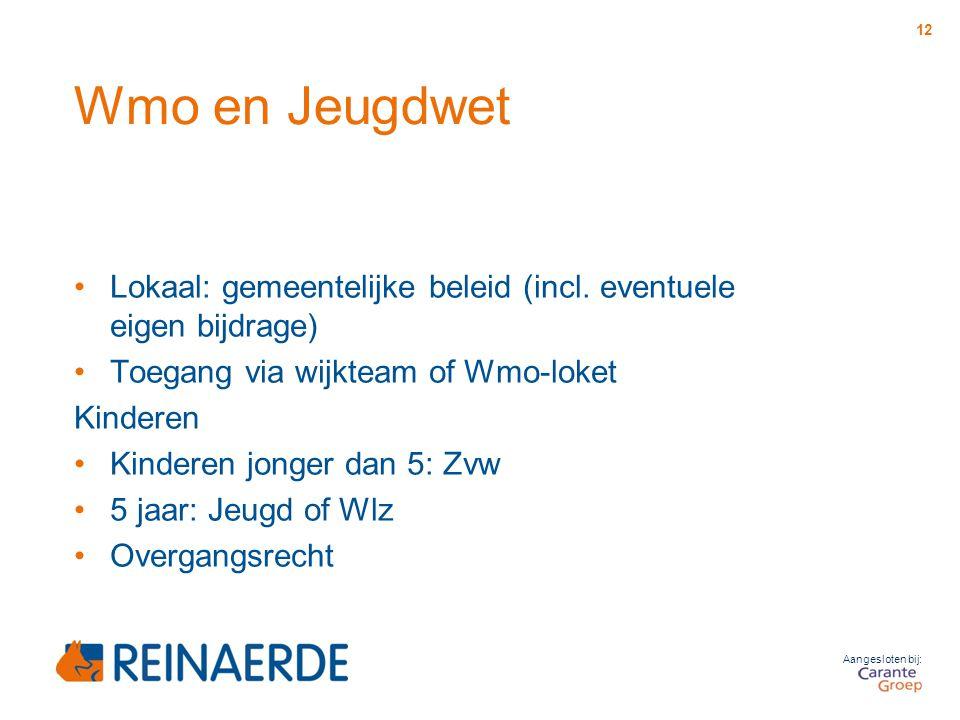 Wmo en Jeugdwet Lokaal: gemeentelijke beleid (incl. eventuele eigen bijdrage) Toegang via wijkteam of Wmo-loket.