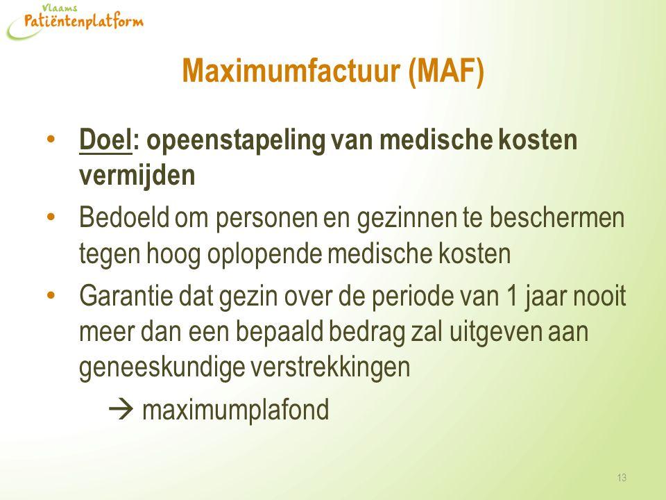 Maximumfactuur (MAF) Doel: opeenstapeling van medische kosten vermijden.