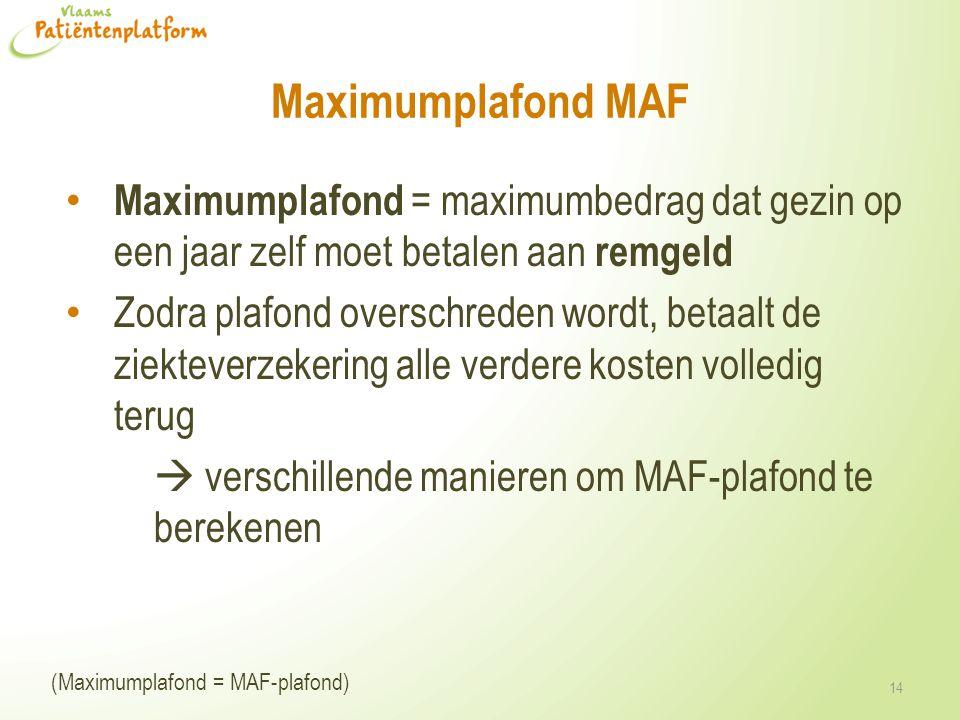 Maximumplafond MAF Maximumplafond = maximumbedrag dat gezin op een jaar zelf moet betalen aan remgeld.