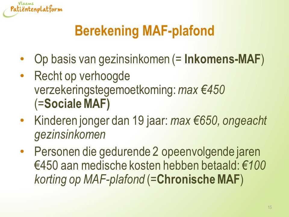 Berekening MAF-plafond
