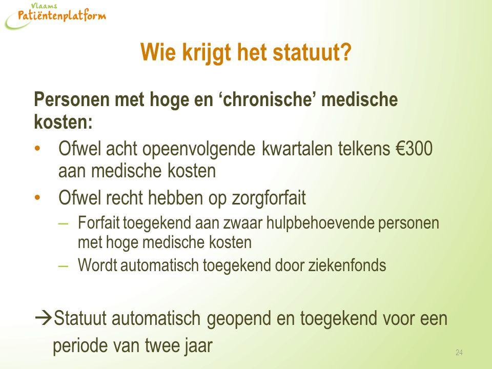 Wie krijgt het statuut Personen met hoge en 'chronische' medische kosten: Ofwel acht opeenvolgende kwartalen telkens €300 aan medische kosten.