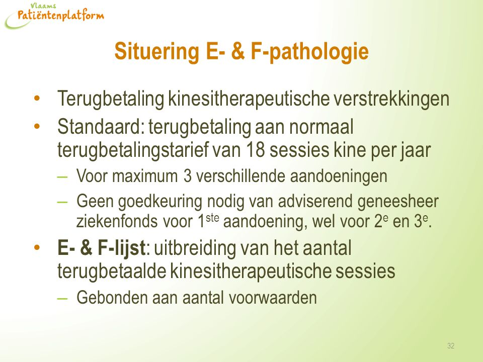 Situering E- & F-pathologie