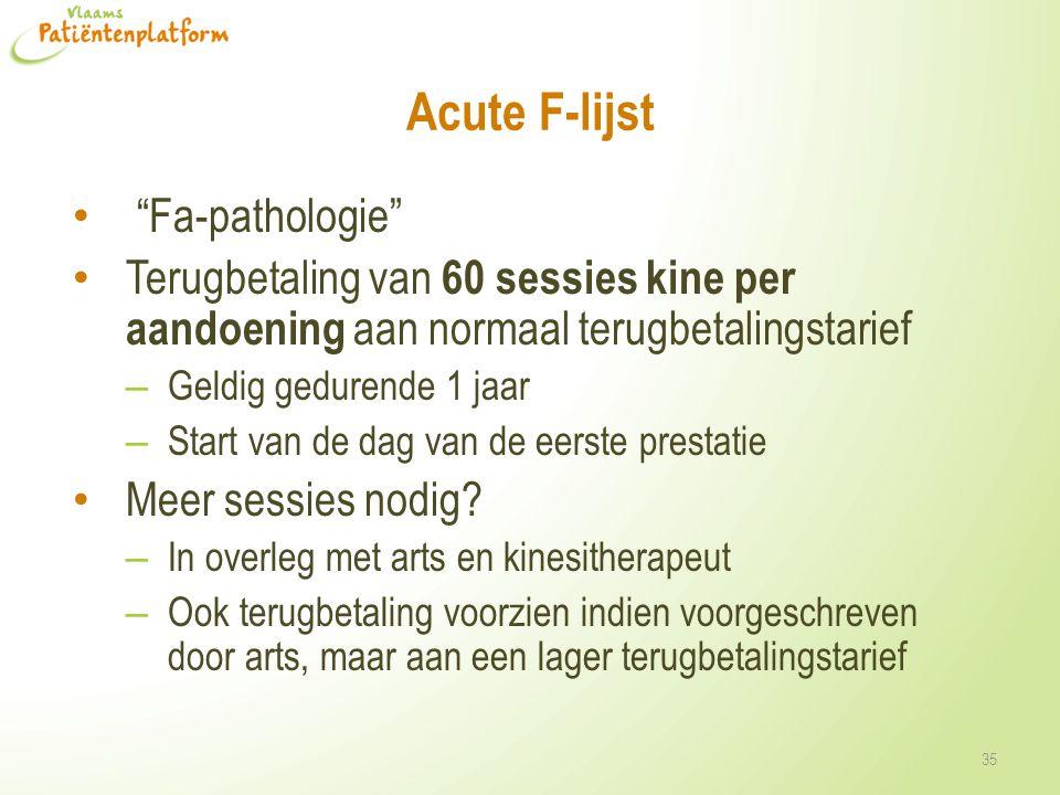Acute F-lijst Fa-pathologie