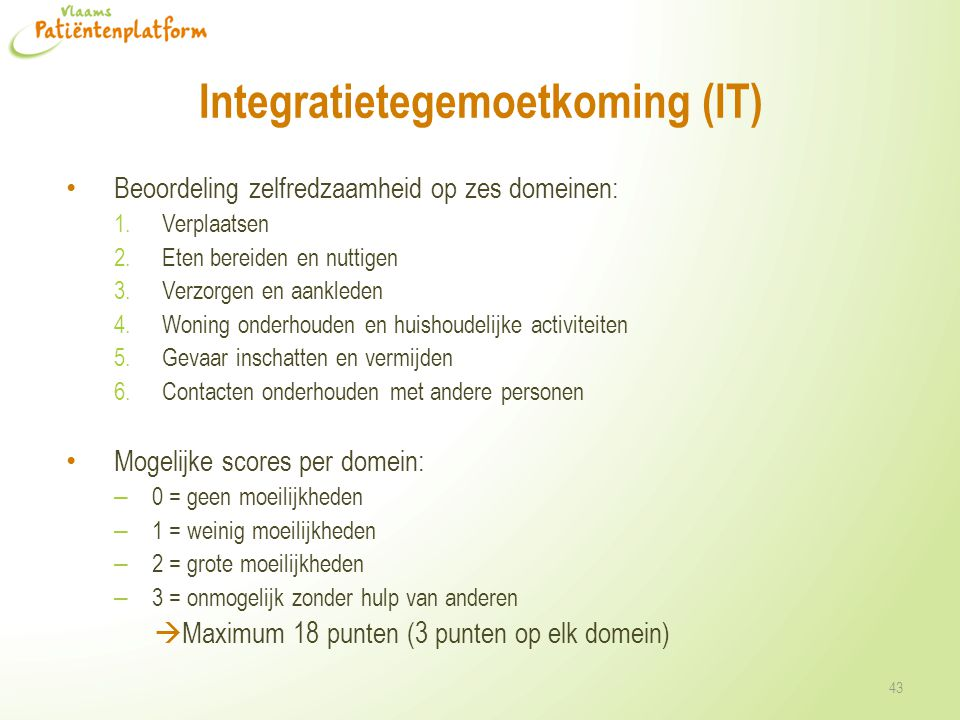 Integratietegemoetkoming (IT)