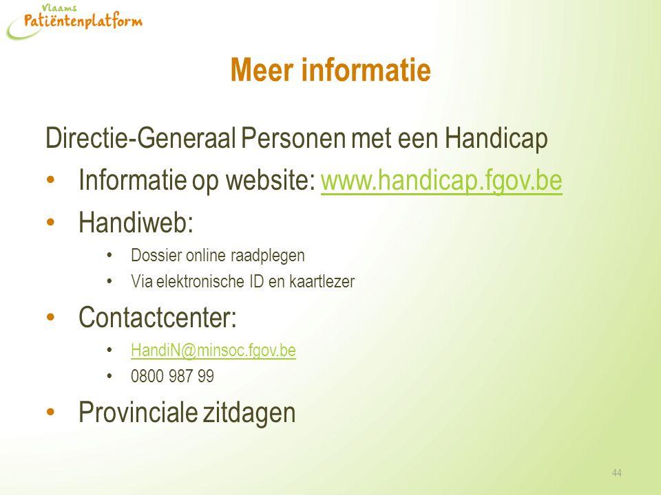 Meer informatie Directie-Generaal Personen met een Handicap