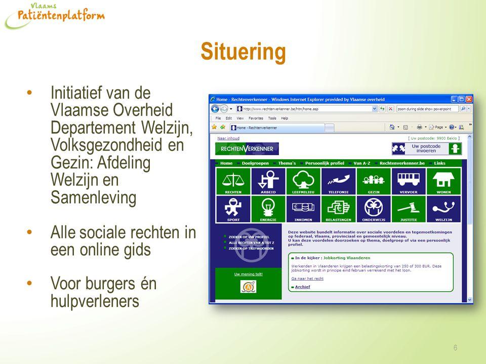 Situering Initiatief van de Vlaamse Overheid Departement Welzijn, Volksgezondheid en Gezin: Afdeling Welzijn en Samenleving.