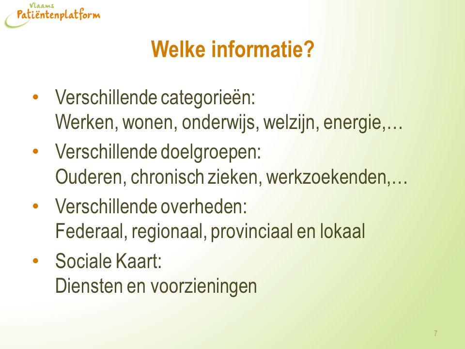 Welke informatie Verschillende categorieën: Werken, wonen, onderwijs, welzijn, energie,…