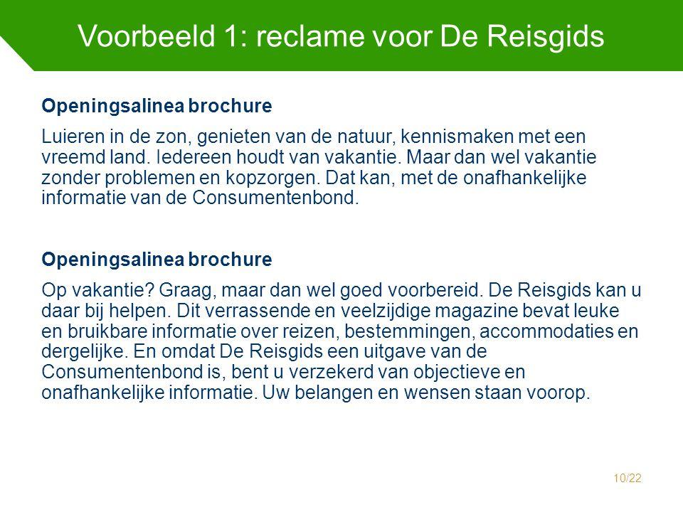 Voorbeeld 1: reclame voor De Reisgids