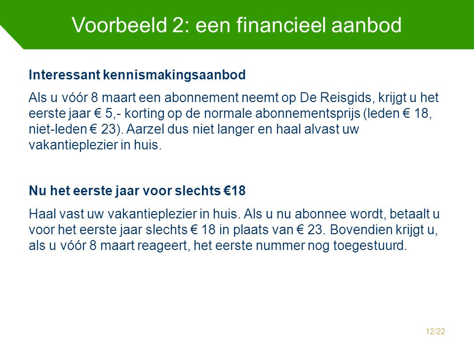 Voorbeeld 2: een financieel aanbod