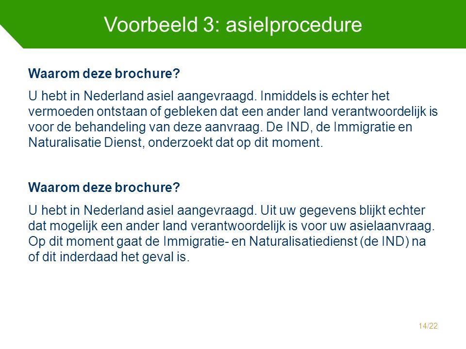 Voorbeeld 3: asielprocedure