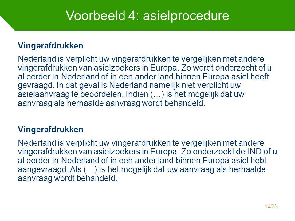 Voorbeeld 4: asielprocedure