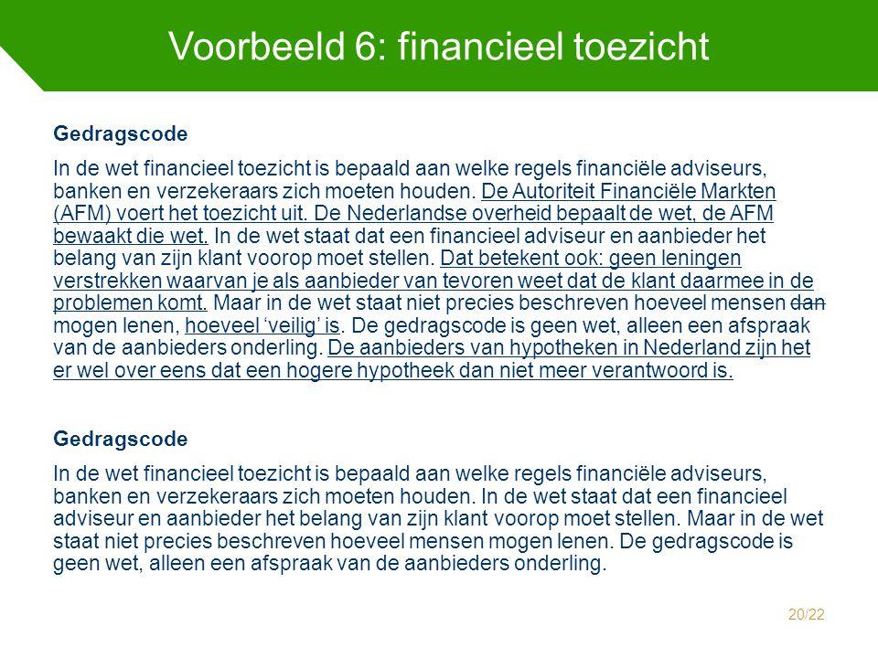 Voorbeeld 6: financieel toezicht