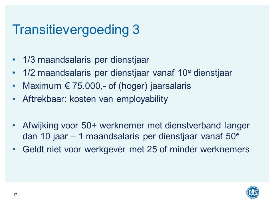 Transitievergoeding 3 1/3 maandsalaris per dienstjaar