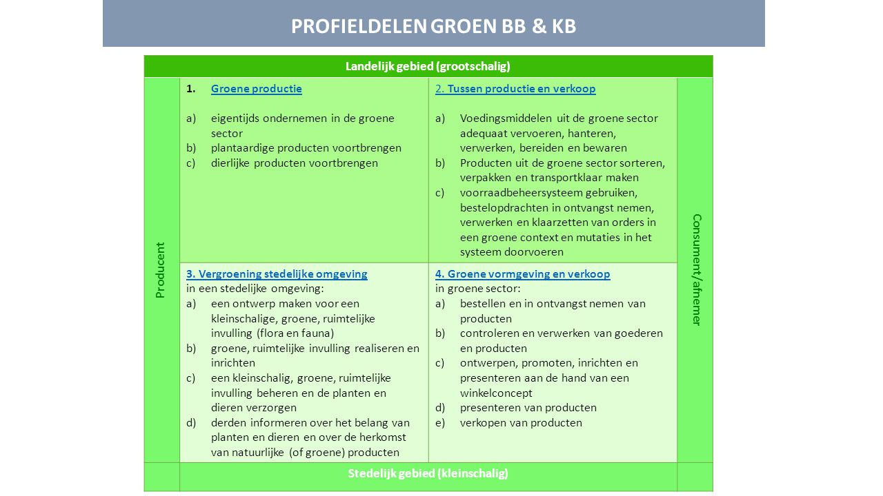 PROFIELDELEN GROEN BB & KB