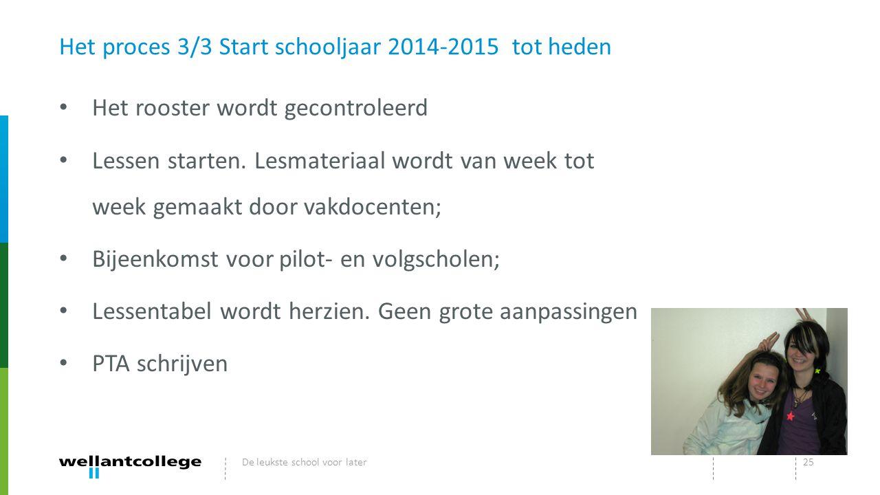 Het proces 3/3 Start schooljaar 2014-2015 tot heden