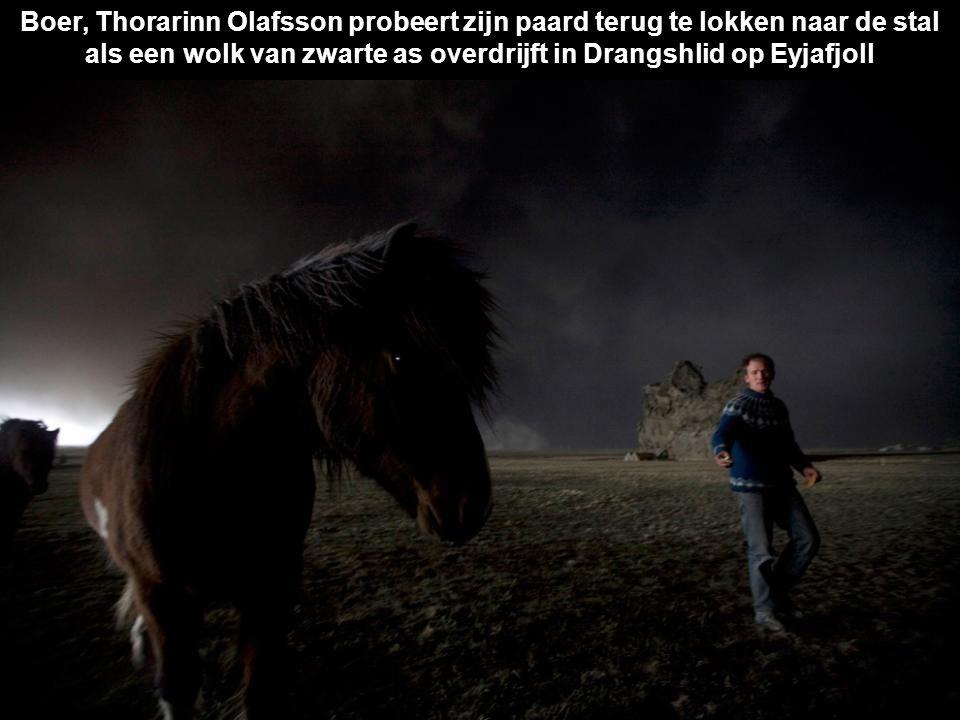 Boer, Thorarinn Olafsson probeert zijn paard terug te lokken naar de stal als een wolk van zwarte as overdrijft in Drangshlid op Eyjafjoll