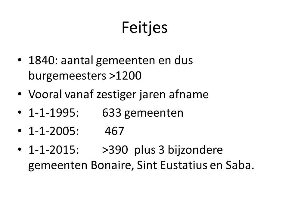 Feitjes 1840: aantal gemeenten en dus burgemeesters >1200