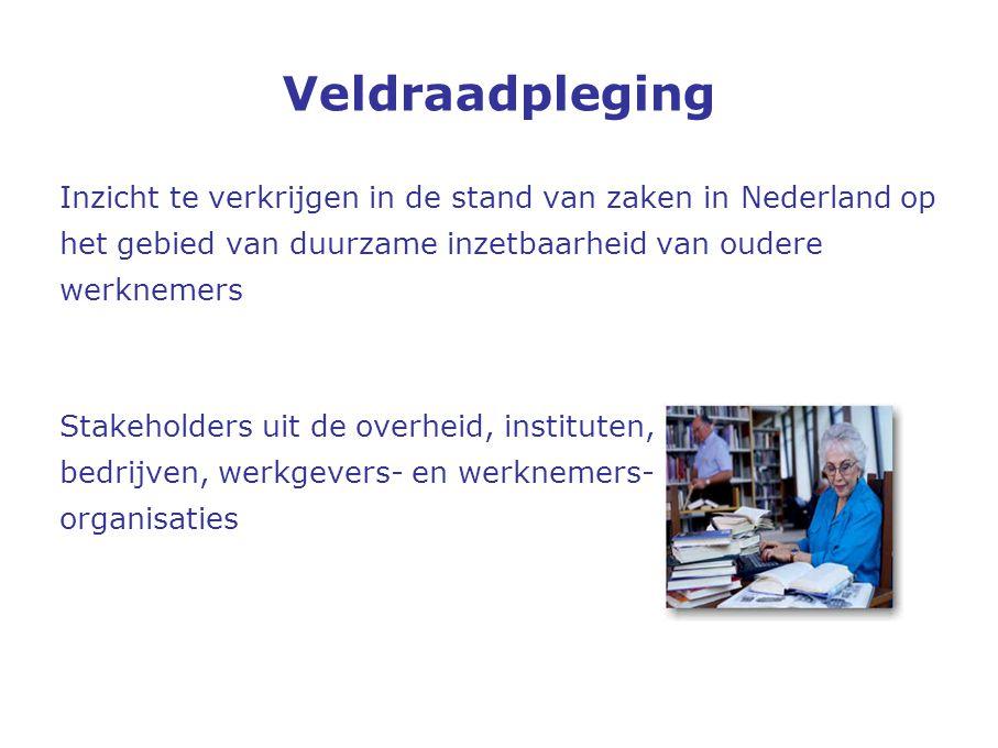 Veldraadpleging Inzicht te verkrijgen in de stand van zaken in Nederland op. het gebied van duurzame inzetbaarheid van oudere.