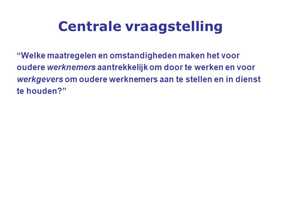 Centrale vraagstelling
