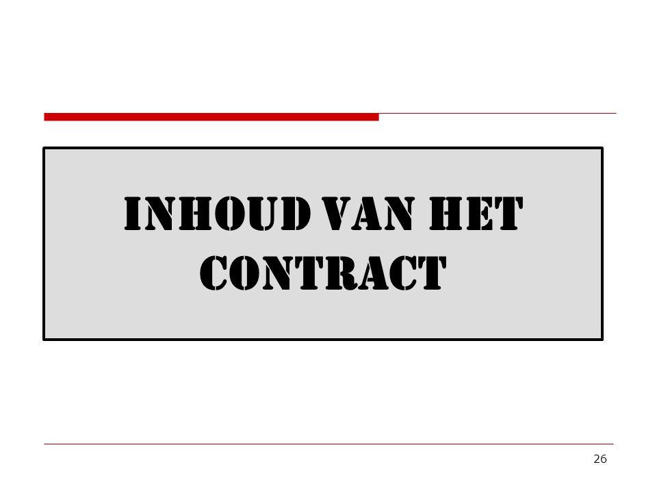 Inhoud van het Contract