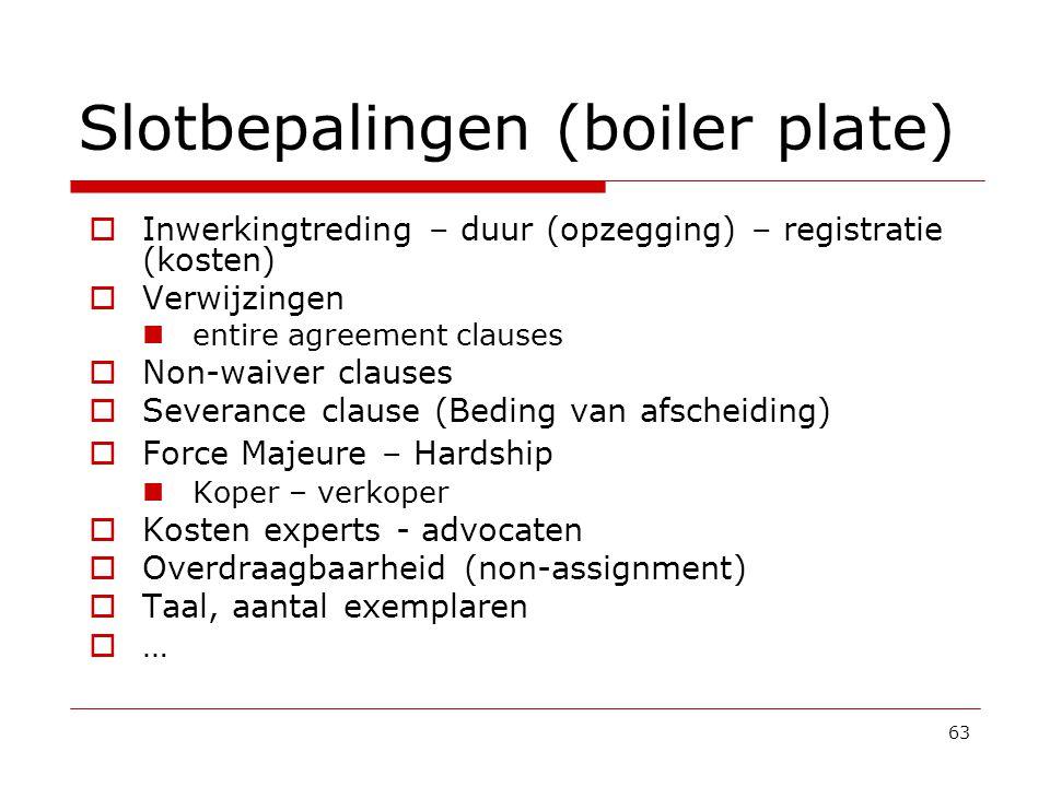 Slotbepalingen (boiler plate)