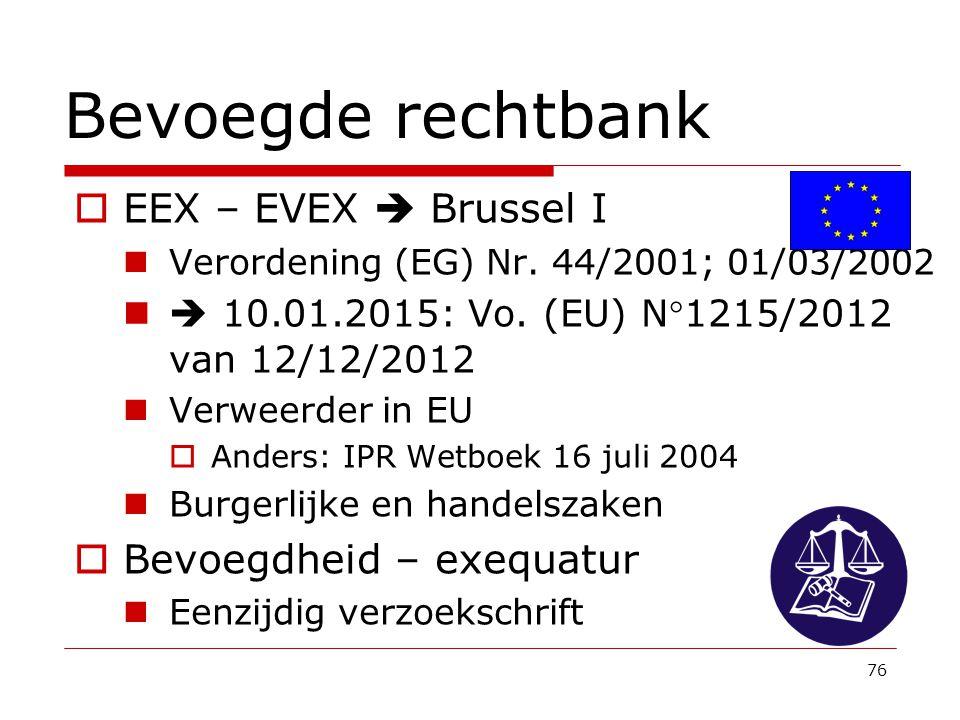 Bevoegde rechtbank EEX – EVEX  Brussel I Bevoegdheid – exequatur