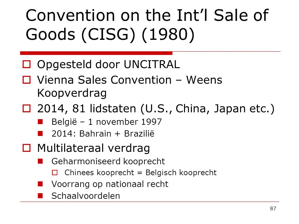 Convention on the Int'l Sale of Goods (CISG) (1980)