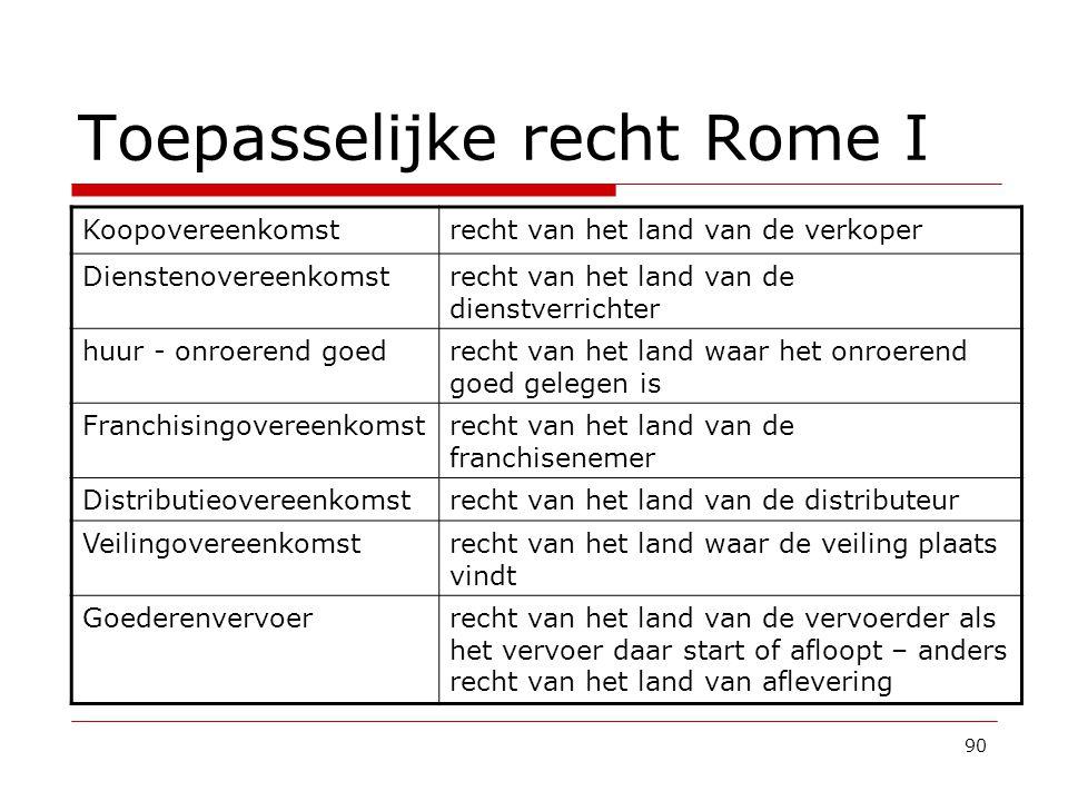 Toepasselijke recht Rome I