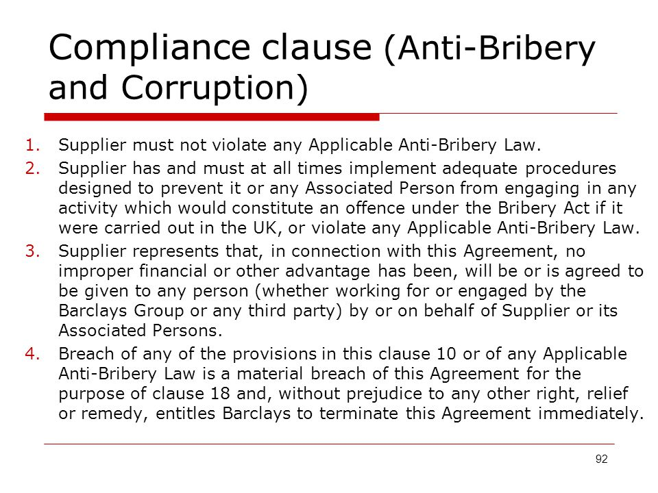 Compliance clause (Anti-Bribery and Corruption)