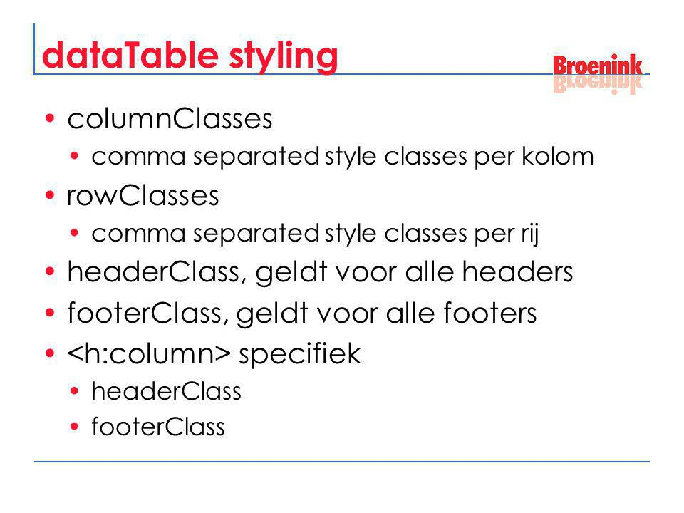 dataTable styling columnClasses rowClasses