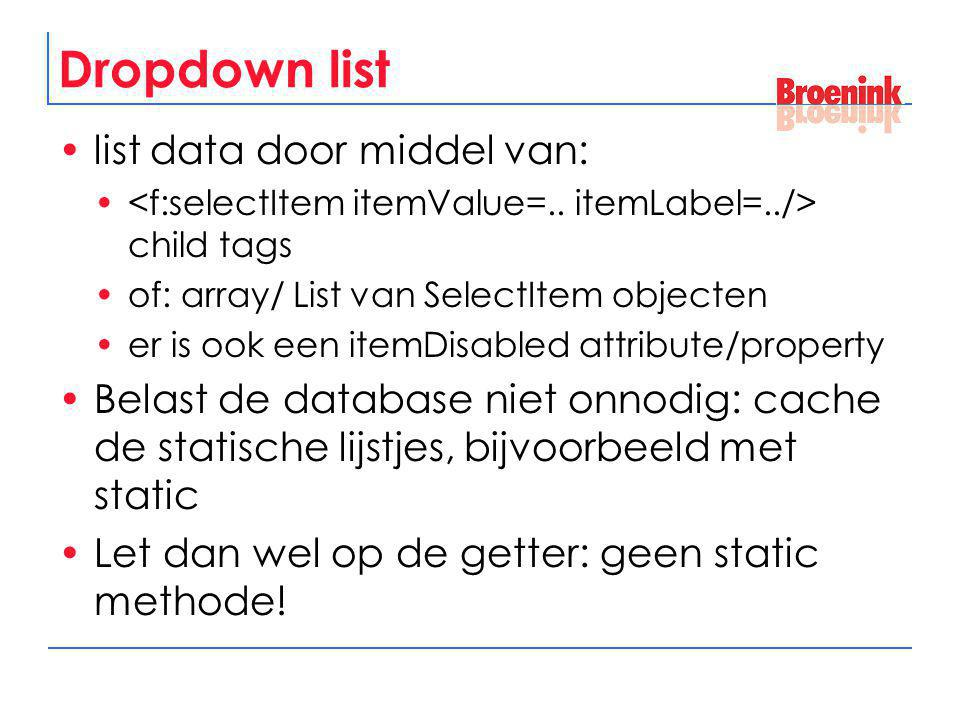 Dropdown list list data door middel van:
