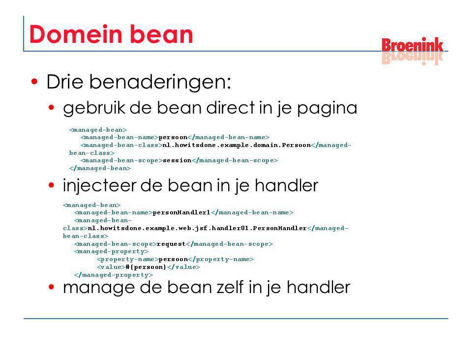 Domein bean Drie benaderingen: gebruik de bean direct in je pagina