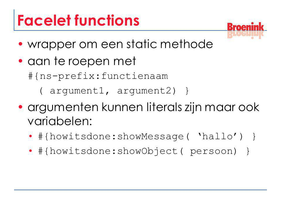 Facelet functions wrapper om een static methode aan te roepen met
